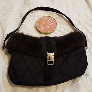 Bath and Body black quilted bag w/faux fur &mirror